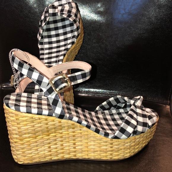 9130236a23 kate spade Shoes | Tilly Gingham Basket Wedge Sandal New | Poshmark